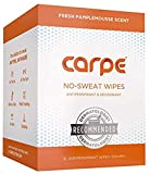 Carpe On-the-Go Antiperspirant Body Wipes for Deodorizing, Cleansing, and Sweat Blocking When You're On the Move, 15 residue free, individually wrapped wipes, light and refreshing scent