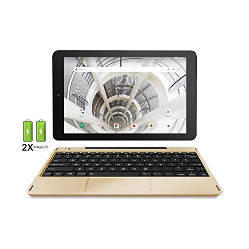 """RCA 10.1"""" HD IPS 32GB Quad-Core Tablet w/Extended Battery Keyboard Android 8.1 (10 inch, Gold Marble)"""