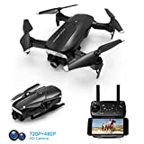 Foldable Drone with 720P HD Camera, 2.4 Ghz RC Quadcopter, 120° Wide-Angle, Altitude Hold, Voice Control, APP Control, One Key Return, Easy to Fly for Beginners Adults Boys Girls, 2 Batteries