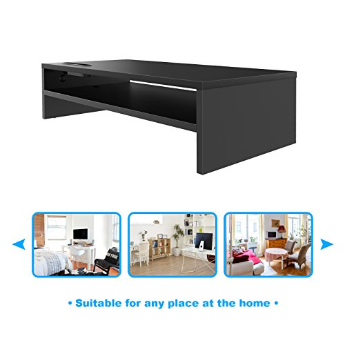 41AWDL8h3dL - 1home Wood Monitor Stand TV PC Laptop Computer Screen Riser Desk Storage 2 Tier Black, W540 x D255 x H142mm (with Smartphone Holder and Cable Management)