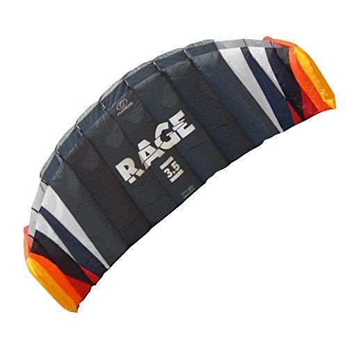FLEXIFOIL 4-line Rage Sport Power Kite (2.5m2) Kite Equipment from World Record Winning Designer - Safe, Reliable & Durable Gear for Kite Training + Power & Traction Kiting