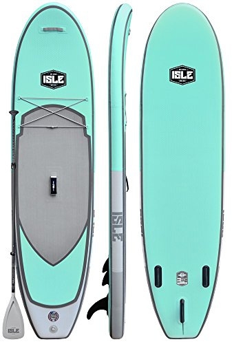 ISLE 10' Airtech Inflatable All Around Stand Up Paddle Board (6' Thick) Package | Includes Adjustable Travel Paddle, Carrying Bag, Pump - Blue