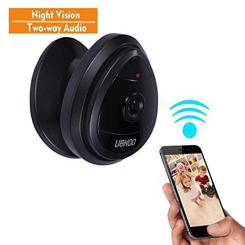 Mini IP Camera, UOKOO Home WiFi Wireless Security Surveillance Camera System with Night Vision/Two Way Audio (nightblack)