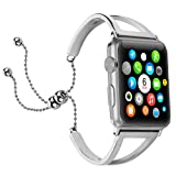 Brione Compatible with Apple Watch Bands 42mm 44mm, Adjustable Stainless Steel iWatch Bands Bracelet for Series 4 3 2 1 Replacement Wristbands Strap Bangle Cuff for Women Girls Pendant Tassel - Silver