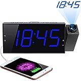 """Projection Alarm Clock, 7"""" Large Digital LED Display & Dimmer, Dual Alarms, USB Charger, Adjustable Alarm Volume, 12/24 H, DST, Battery Backup for Bedrooms Ceiling Wall Home Kitchen Desk, Kids Elders"""