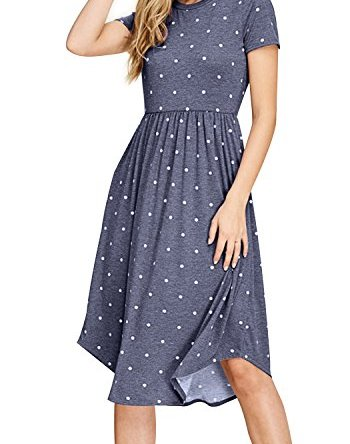 Simier Fariry Women Summer Pleated Polka Dot Pocket Loose Swing Casual Midi Dress