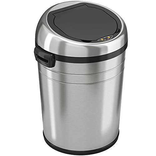 iTouchless 18 Gallon Commercial Size Touchless Sensor Trash Can with Odor Control System, Stainless Steel, 68 Liter Round Automatic Garbage Bin