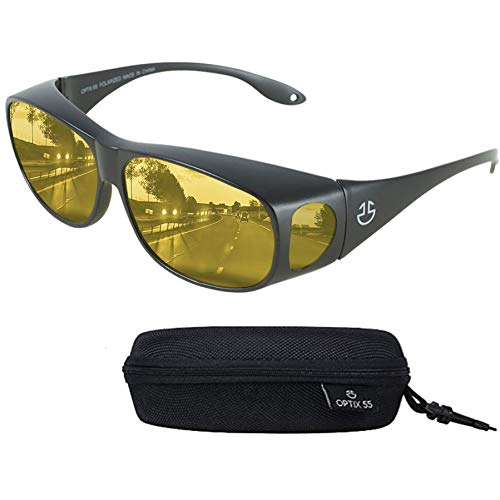 Anti Glare Night Vision Driving Glasses Wraparounds - Polarized - With HD Night Vision Technology And Anti Glare - For Best Clear Night Sight & Reducing Glare - With Bonus Case - By Optix 55