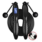 CNsoyee Jump Rope with Digital Counter-Cordless/Rope Indoor/Outdoor Workout Crossfit Adjustable Countdown Skipping Speed Fast Rope Fitness Equipment for Adults Kids Men Women