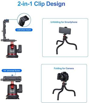 ULANZI-Camera-Tripod-Mini-Flexible-Tripod-Stand-with-Hidden-Phone-Holder-w-Cold-Shoe-Mount-14-Screw-for-Magic-Arm-Universal-for-iPhone-11-Pro-Max-XS-Max-X-8-7-Samsung-Canon-Nikon-Sony-Cameras