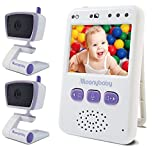Baby Monitors with 2 Cameras by Moonybaby, Long Battery Life, Long Range, Non-WiFi, Color Screen, Auto Night Vision, Two Way Talk Back, Zoom in, Power Saving, VOX (Voice Activation) & Lullabies