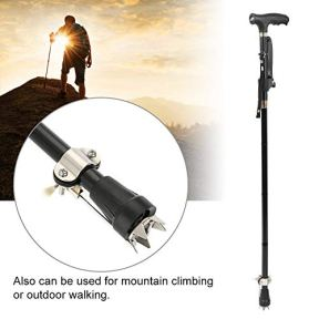 Folding-Walking-Sticks-Aluminum-Alloy-Cane-with-LED-Light-Height-Adjustable-Lightweight-Crutches-with-Non-Slip-Nails-Foldable-for-Seniors-and-Disabled-Walking-Trekking-Poles-and-Hiking