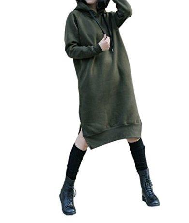 64c0a8bf11c NUTEXROL Women s Thickening Long Fleece Sweatshirt String Hoodie Dress ...