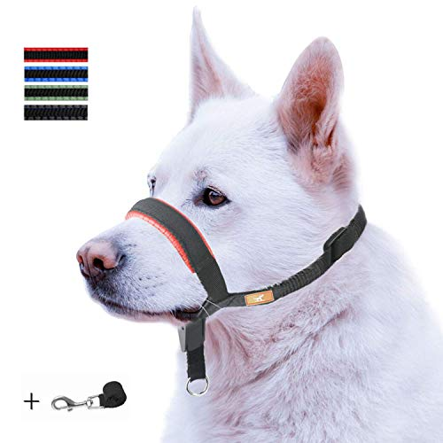 Dog Head Collar with Padded Leather, Head Harness Stops Dog Pulling, Head Leash (L, Red) 1