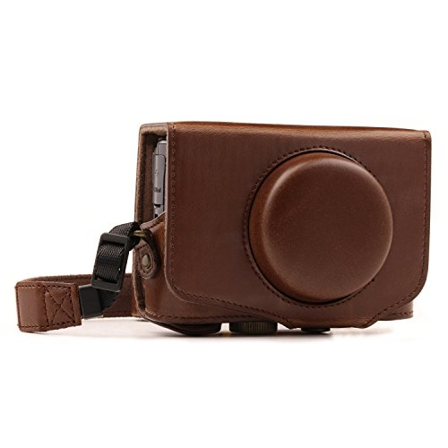 MegaGear MG1174 Canon PowerShot SX740 HS, SX730 HS Ever Ready Leather Camera Case with Strap - Dark Brown