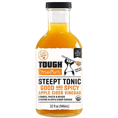 Tough Mother Steept Apple Cider Vinegar Shots with the Mother - Organic Formula helps with bloating relief | Good and Spicy - 32 fl oz | sugar-free