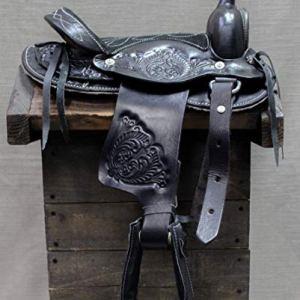 M-Royal 10″ Pony Mini Horse Saddle Leather Black Western Saddle