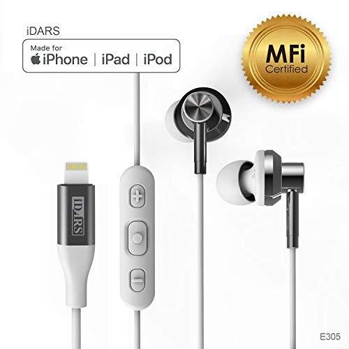 iDARS Lightning Headphone Earbud Earphone Apple MFi Certified in-Ear Headphone with Mic and Remote for iPhone X/XS/XS Max/XR / 8/ 8Plus/ 7/ 7Plus/ iPad Pro/iPad Air/iPad Mini/iPod (White)