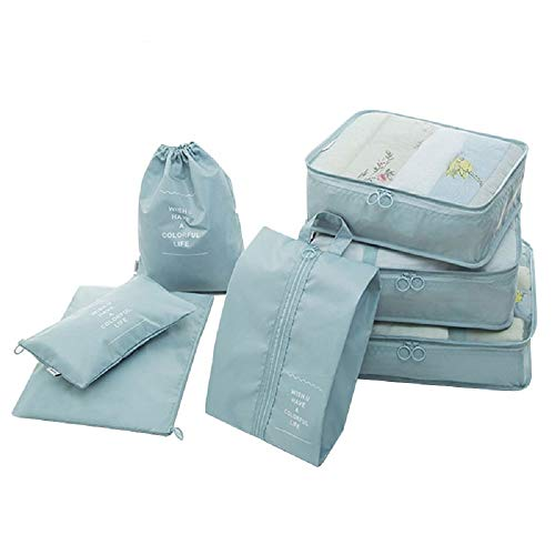 41AyUYd4QSL - Styleys Polyester Packing Cubes with shoe Bag (Sky Blue_S11003)