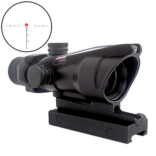 CRUSHUNT 4x32 ACOG Hunting RifleScopes Red Chevron Glass Etched Reticle Real Fiber Optics Tactical Optical Sights Scope