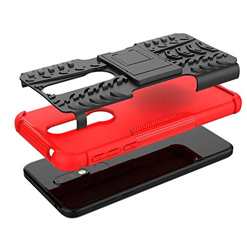 Soezit Military Graded Heavy Kickstand Back Phone case Rugged Shock Proof Anti-Wrestling Travel Essential Phone Accessories for Nokia 7.1 (Red) 5