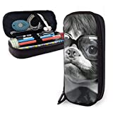 Synthetic Leather Pen Case Boston Terriers in Wigs Pencil Bag Zippered Pen Cosmetic Makeup Pouch Bag for School Work Office
