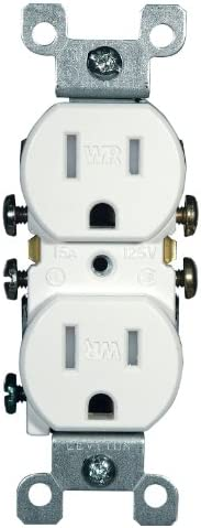 41B3 Qnl6IL. AC  - Leviton W5320-T0W 15 Amp, 125 Volt, Weather and Tamper Resistant, Duplex Receptacle, Grounding, Side and Quickwire, White #Amazon