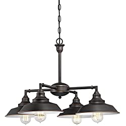 Westinghouse Lighting 6343300 Iron Hill Four-Light Indoor Convertible Chandelier/Semi-Flush Ceiling Fixture, Oil Rubbed Bronze Finish with Highlights and Metal Shades, White Interior