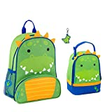 Stephen Joseph Boys Sidekick Dinosaur Backpack and Lunch Pal with Zipper Pull