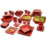 10 Strawberry Street Nova Square Banquet 45-Piece Dinnerware Set (Red)