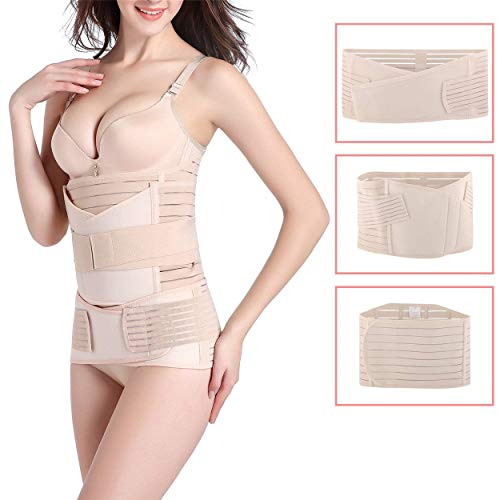 3 in 1 Postpartum Belly Wrap, Women C Section Girdle Belt Post Partum Support Recovery Band