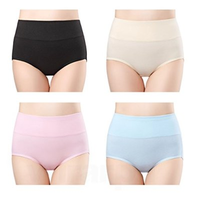 wirarpa Womens Cotton Underwear 4 Pack High Waisted Briefs Postpartum No Muffin Top Ladies Comfort Panties Size 6, Medium