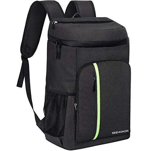 SEEHONOR Insulated Cooler Backpack Leakproof Soft Cooler Bag Lightweight Backpack with Cooler for Lunch Picnic Hiking Camping Beach Park Day Trips, 30 Cans (Black)