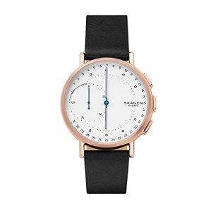 Skagen Hybrid Smartwatch Signature Stainless Steel Quartz Watch with Leather Calfskin Strap, Black, 20 (Model: SKT1112