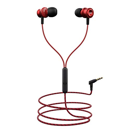 boAt BassHeads 152 Wired Earphones with Super Extra Bass, Durable Cable, Built-in Mic, Metallic Earbuds(Raging Red) 213