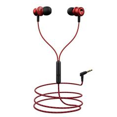 boAt BassHeads 152 Wired Earphones with Super Extra Bass, Durable Cable, Built-in Mic, Metallic Earbuds(Raging Red)