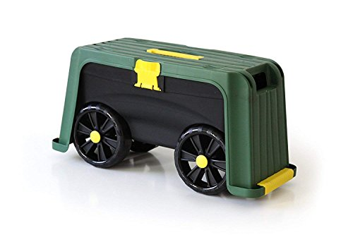 Miracle-Gro 4-in-1 Garden Stool – Multi-Use Garden Scooter with Seat – Rolling Cart with Storage Bin – Padded Kneeler and Tool storage - Accessible Gardening for All Ages + FREE Scotts Gardening Glove