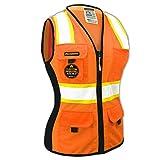 KwikSafety (Charlotte, NC) FIRST LADY Safety Vest for Women | Class 2 ANSI OSHA PPE | High Visibility Heavy Duty Mesh Pockets Zipper | Hi-Vis Construction Work Hi-Vis Surveyor Female | Orange Small