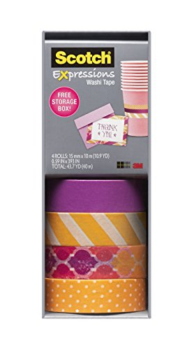 Scotch Expressions Washi Tape, Multi-Pack with Storage Box Stripes, Dots and Sunset, 4 Rolls