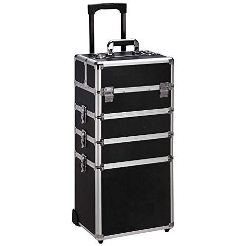 Ollieroo 4 in 1 Aluminum Rolling Cosmetic Makeup Train Cases Trolley Professional Artist Train Case Organizer Box Lift Handle Lock 2 wheel 2 Keys Each Layer Total 8 Keys Black