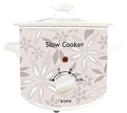 EUPA スロークッカー(電気煮込み鍋) 花柄グレー TSI-SC15
