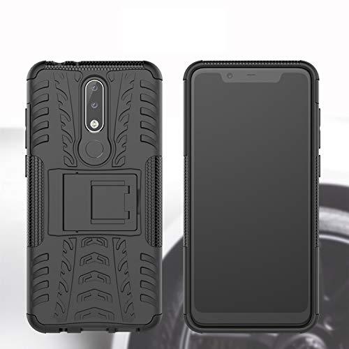 Prime Retail Nokia 5.1 Plus Hybrid Armor Back Cover Case with Kickstand Wheel Pattern for Nokia 5.1 Plus(Black) 3