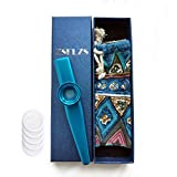 Metal Kazoo with A Beautiful Gift Box, Mini Musical Instrument for Kids And Adults (Blue)