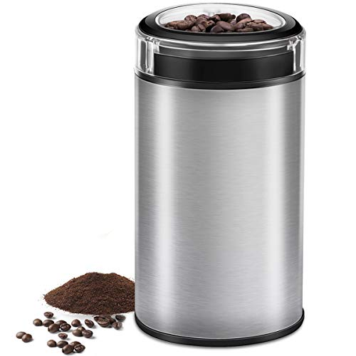 Coffee Grinder Electric, CUSIBOX Multifunctional Stainless Steel Blade Coffee Grinder Fast Grinding Coffee Beans, Nuts, Grains, Spices (Silver)