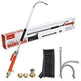 MATCC Hydro Jet High Pressure Power Washer Wand 39'' Extendable Sprayer, Flexible Hose Nozzle for Car Washing and Window Washing Attached Brush for Easy Cleaning