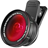 [Upgraded Version] AMIR Phone Camera Lens, 0.45X Wide Angle Lens + 15X Macro Lens for iPhone Camera Lens Kit, Clip-On Cell Phone Camera Lenses for iPhone, Android, Samsung Smartphones and Tablets