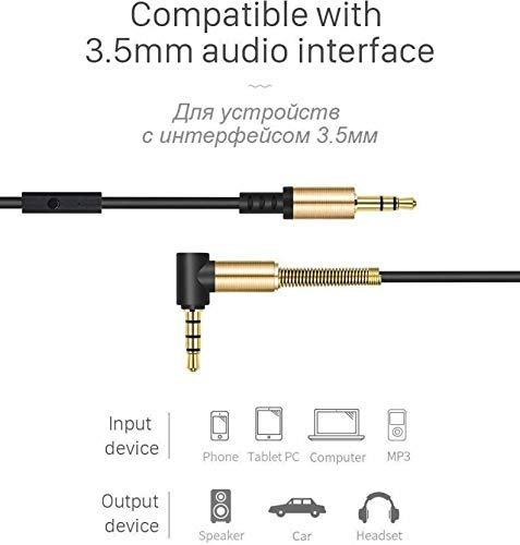 M7 3.5mm Male to Male Aux Cable with Mic Function Cord L-Shaped Car Audio Headphone Jack Stereo Audio Aux Auxiliary for iPhone, iPod, iPad, Samsung, Tablet, Car, Phone 1.2 m AUX Cable 3