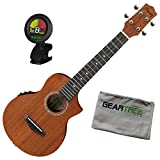 Ibanez UEW5E UEW Open Pore Natural Acoustic-Electric Ukulele Bundle w/Tuner and