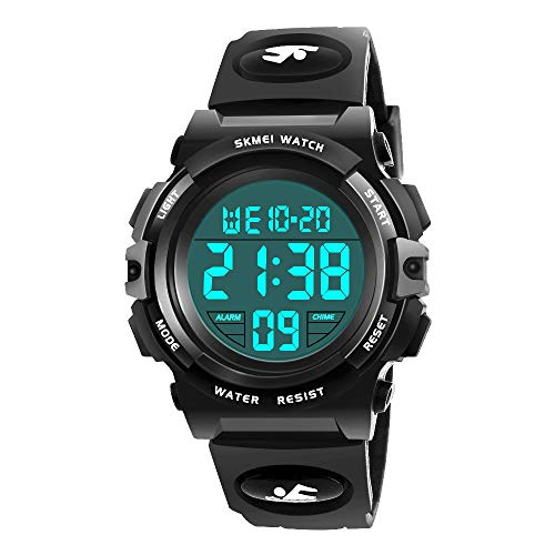 My-My Great Gifts for 6-12 Years Old Boys, Digital Sport Watch for Boys Birthday Present for 6-12 Year Boys Girls Teenage Kids Watches Boys Waterproof Great Gift Idea for Boys Black MMXSB07