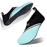 Mens Womens Water Shoes Barefoot Beach Pool Shoes Quick-Dry Aqua Yoga Socks for Surf Swim Water Sport (Aqua Green, 46/47EU)